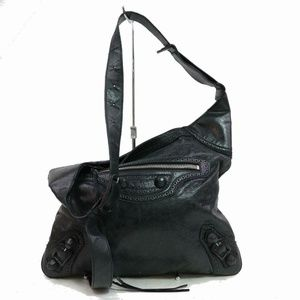 Balenciaga Black Leather Arena Messenger Hobo